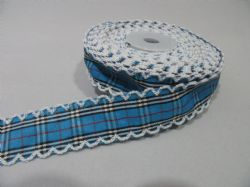 2 metres or 10 metre Roll 25mm Blue Tartan Vintage Scalloped Edge Ribbon Cotton